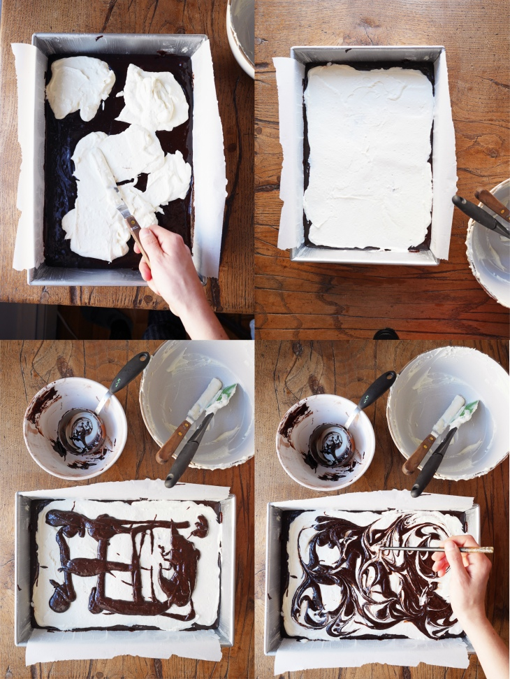 Step by step instructions for making swirled cream cheese brownies on Mostess.co